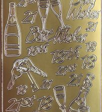 Sheet of Mixed 21st 21 18th Best Wishes Birthday Key Gold Stickers Birthday123-1