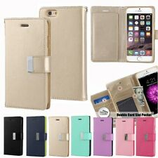 ID Card Slot Dual Wallet Leather Book Flip Wallet Case Cover For iPhone Galaxy