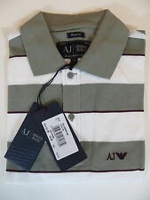 ARMANI JEANS PIQUE  POLO SHIRT SHORT SLEEVE STRIPED WHITE / GREY 100% AUTHENTIC