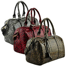 Ladies Womens Brown Black Red Patent Animal Print Bowling Shoulder Handbag Bags