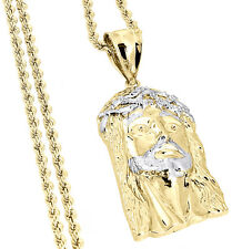 """Mens 1/20th 10k Yellow Gold Jesus Piece Face Pendant Charm & 20"""" Rope Chain"""