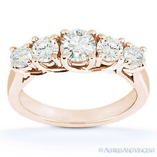 Round Cut Forever Brilliant Moissanite 14k Rose Gold Trellis Wedding Ring Band