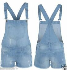 Womens Ladies Denim Dungarees Frayed Short Light Wash Jeans Hot Pant PlaySuit