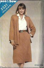 Vintage Butterick Sewing Pattern Misses Loose Fitting Jacket Skirt 5331 See Sew