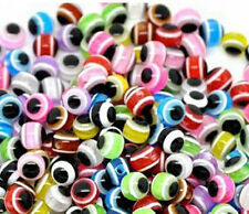 Free Ship 100pcs Mixed Color Evil Eye Acrylic Round Loose Beads 6mm,8mm,10mm