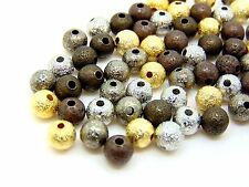 Mixed Colour Stardust Spacer Beads Bronze Silver Gold Plated 4mm 6mm 8mm ML