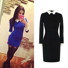 Womens Spring Autumn Black Peter Pan Collar Long Sleeve Slim Bodycon Dress