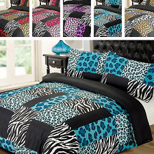 Kruger Black White Leopard Zebra Animal Print Duvet Quilt Cover Bedding Set