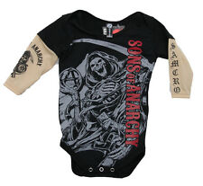 Sons of Anarchy Red Logo Reaper Tattoo Sleeves Baby One-piece Bodysuit