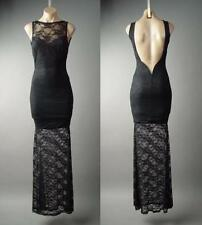 Black Lace Open Back Victorian Goth Evening Mermaid Gown Tall Long 132 mv Dress