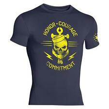 Under Armour 1257507 Honor Courage Commitment Compression Navy Skull T-Shirt NEW