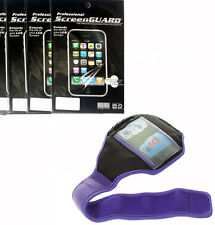 Purple Sport Armband Case Cover + 3x Screen Protector Film FOR Cell Phones 2015