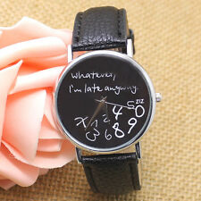 Black/White Leather Whatever I Am Late Anyway Men's Women Wrist Watches Gifts