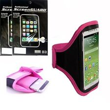 Pink Sport Armband Case Cover + 6x Screen Protector Film FOR Cell Phones 2015