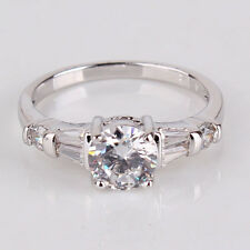 Wedding Band ring 18k white gold filled white topaz ring Sz5-Sz9