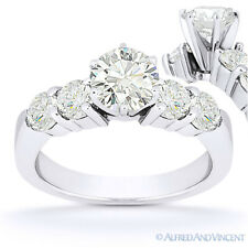 Forever Brilliant Round Cut Moissanite 5-Stone Engagement Ring in 14k White Gold