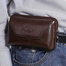 Men Genuine Leather Belt Pouch Purse Fanny Pack Cell Phone Case Cover  Waist Bag