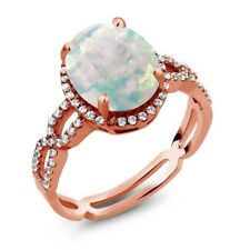 3.51 Ct Simulated Opal and Created Sapphire 925 Rose Gold Plated Silver Ring