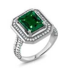 4.32 Ct Stunning Emerald Cut Green Simulated Emerald 925 Sterling Silver Ring
