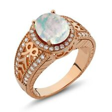 2.77 Ct Oval Cabochon Natural White Opal 925 Rose Gold Plated Silver Ring