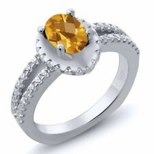 1.21 Ct Oval Checkerboard Yellow Citrine 14K White Gold Ring