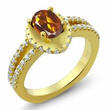 1.21 Ct Oval Orange Red Madeira Citrine 14K Yellow Gold Ring