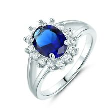 18k white gold filled Oval blue Sapphire with white Topaz accent ring Sz6-Sz9