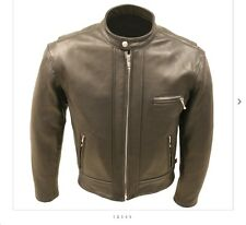 MADE IN USA THICK 4-4.5 OUNCE NAKED LEATHER FITTED MOTORCYCLE RACER JACKET