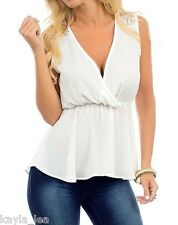 White Lace Shoulder Peplum Hi-Low Mermaid Button Back Sleeveless/Tank Top S M L