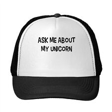 Ask Me About My Unicorn Funny Adjustable Trucker Hat Cap