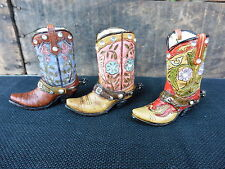 COWBOY BOOT Choose Style = Resin Rhinestones Decor Wedding Birthday CAKE TOPPER