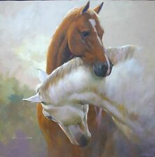 Handcraft animal Oil Painting on Canvas,Two horses 24x36 inch (No frame)