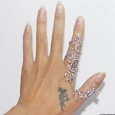2015 Silver double full finger knuckle armor long ring punk rock gothic JEWELRY