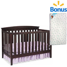 Convertible Baby Crib 4 in 1 Nursery Furniture Toddler Child with Bonus Mattress