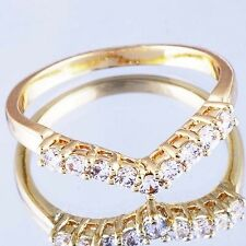"""B0598 Nobby Yellow Gold Filled Clear CZ """"V"""" Womens Ring Size 8"""