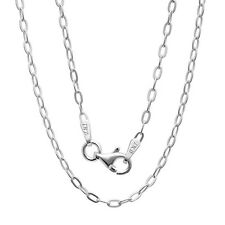 """925 Sterling Silver OVAL chain Necklace for pendant 16"""", 18"""",20"""", 22"""", 24"""", 30"""""""