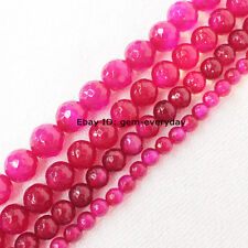 6,8,10,12,14,16mm Purple Agate Round Loose Beads 14.5""