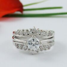 1 CARAT CZ ROUND WEDDING ENGAGEMENT RING SET SIZE 5 6 7 8 9 10 FREE RING BOX