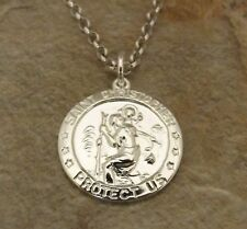 Sterling Silver St.Christopher Medal/Pendant on a 3mm Rolo Chain Necklace -1186