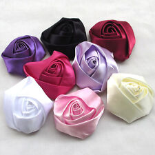 7pcs Large Big Satin Ribbon Rose Flower Bow Craft/ DIY/Wedding/Appliques