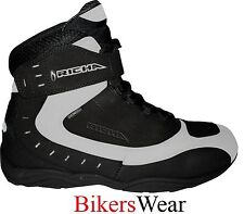 Richa SLICK White/Black Scooter/Motorcycle WATERPROOF Boots ANKLE+ FREE SOCKS
