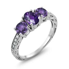 1.77 Ct Oval Checkerboard Purple Amethyst 925 Sterling Silver Ring