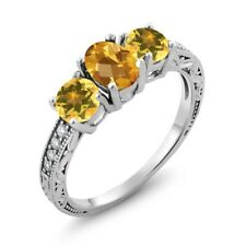 1.72 Ct Oval Checkerboard Yellow Citrine 925 Sterling Silver Ring