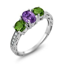 1.87 Ct Oval Purple Amethyst Green Chrome Diopside 925 Sterling Silver Ring