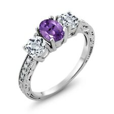 1.87 Ct Oval Purple Amethyst White Topaz 925 Sterling Silver Ring