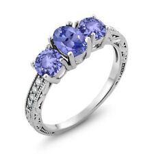 1.79 Ct Oval Blue Tanzanite 925 Sterling Silver Ring