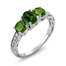 1.92 Ct Oval Green Chrome Diopside 925 Sterling Silver Women's 3-Stone Ring