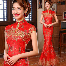 NEW Long Evening Prom Dress Mermaid Gown Chinese Cheongsam Peacock feather Y358H