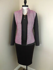 NEW Coldwater Creek Herringbone Vest Pink Zip Front Stand Collar Tweed Womens