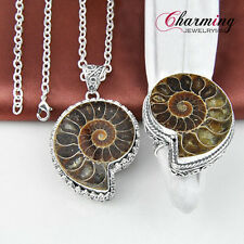 2 Pcs 1 Lot Natural Ammonite Fossil Charm Gems Silver Pendant Ring Jewelry Set